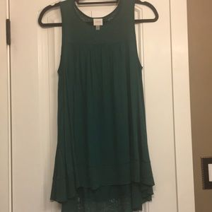 Cupid Hi-Lo emerald Green Tank w/ lace detail.SzS